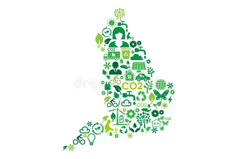 英国地图环境保护绿色概念象 向量例证