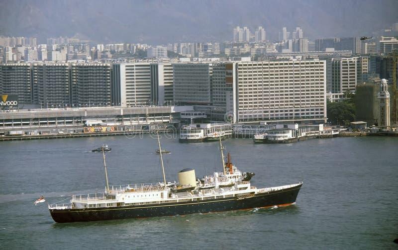 英国女王游艇离开香港港 库存照片