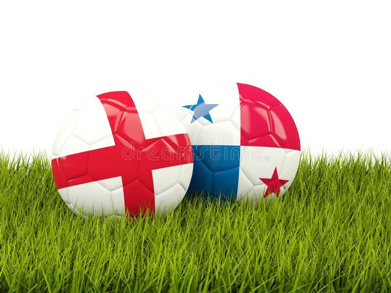 英国对巴拿马 球特写镜头概念穿上鞋子足球体育运动 与旗子的橄榄球在绿色 库存例证