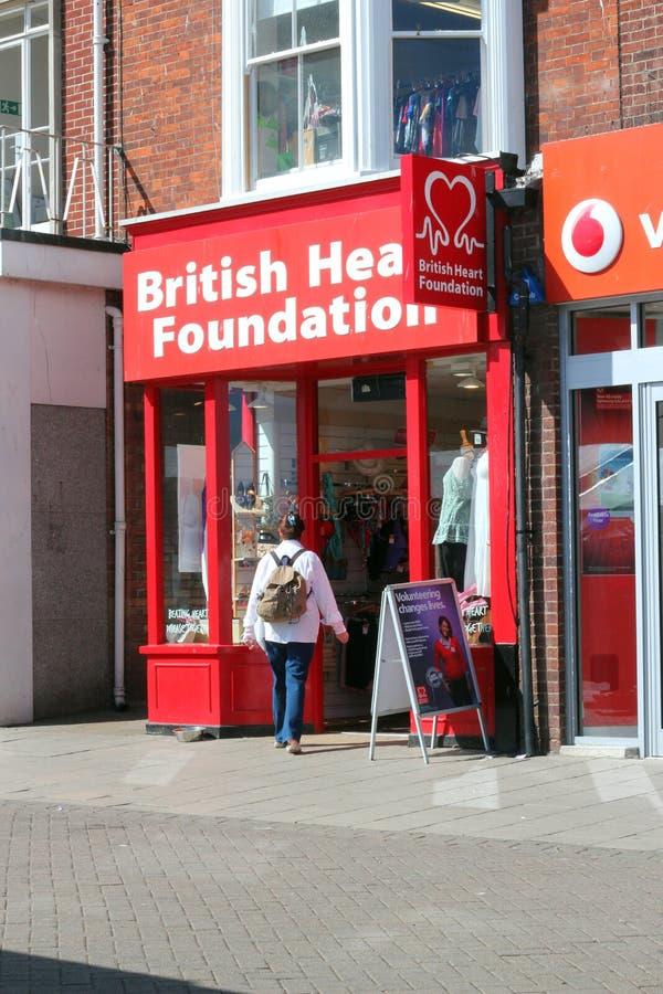英国心脏基础慈善商店。 图库摄影