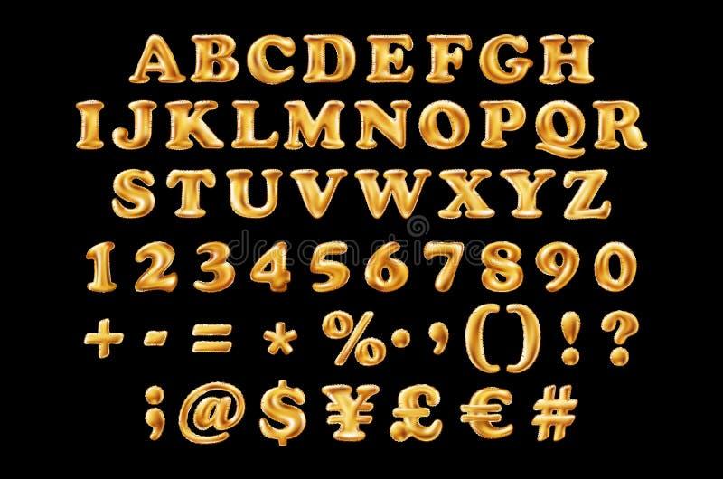 英国按字母顺序的字体和数字从黄色金黄字体在黑背景迅速增加 假日和教育 向量例证