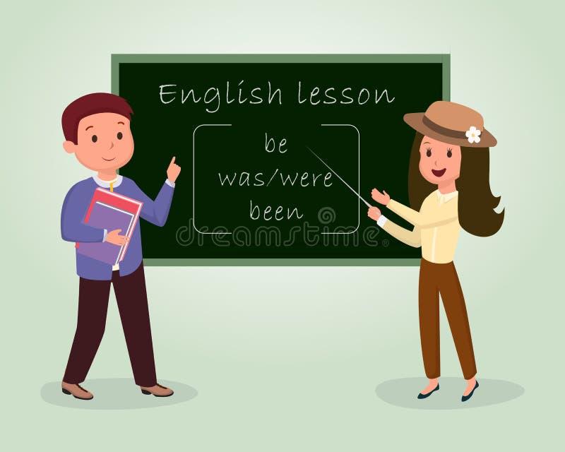 英国教训平的传染媒介例证 解释的家庭教师,指向黑板,拿着书的英国说母语的人 库存例证