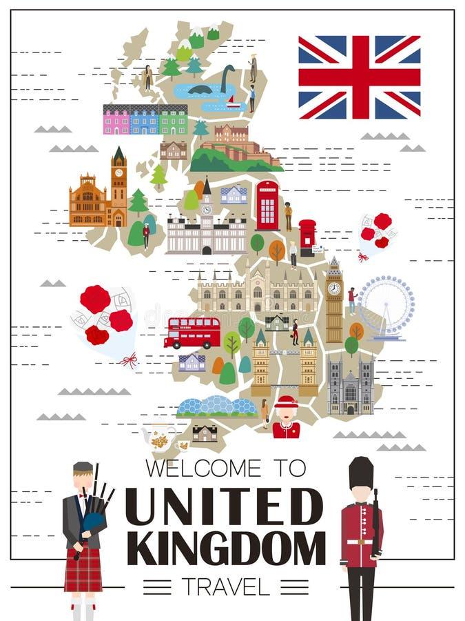 英国旅行地图 向量例证