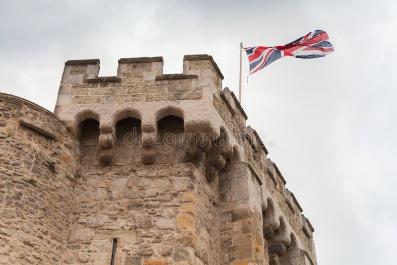 英国旗子在Bargate 免版税库存照片