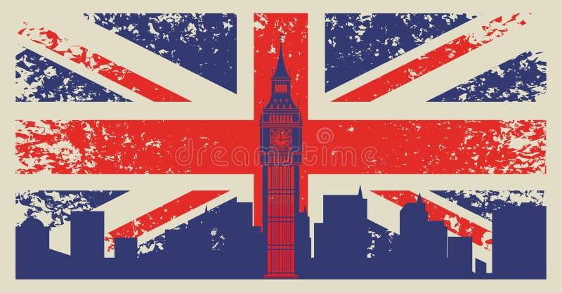 英国旗子 库存例证