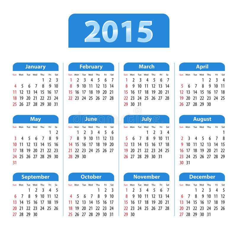 英国日历2015蓝色 皇族释放例证