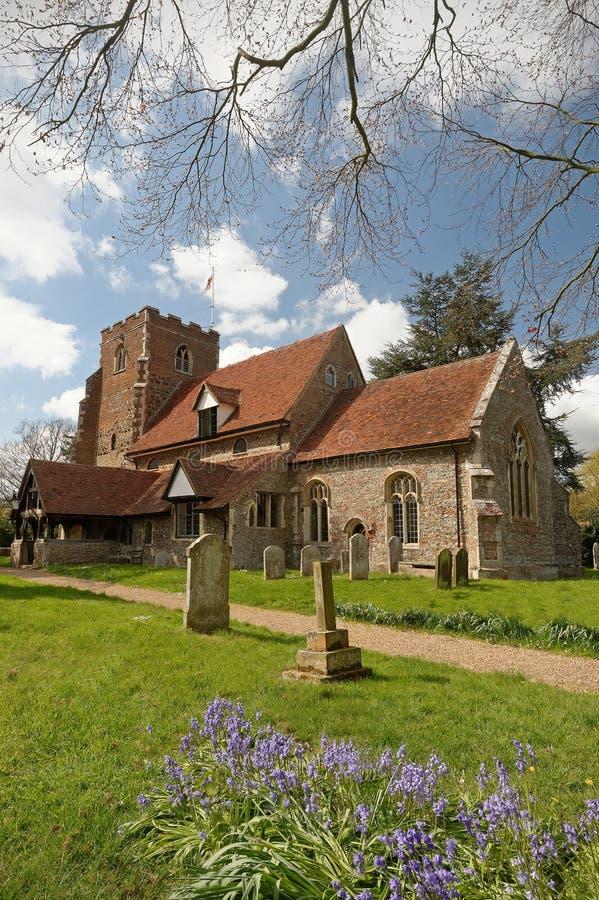 英国村庄教会 库存照片