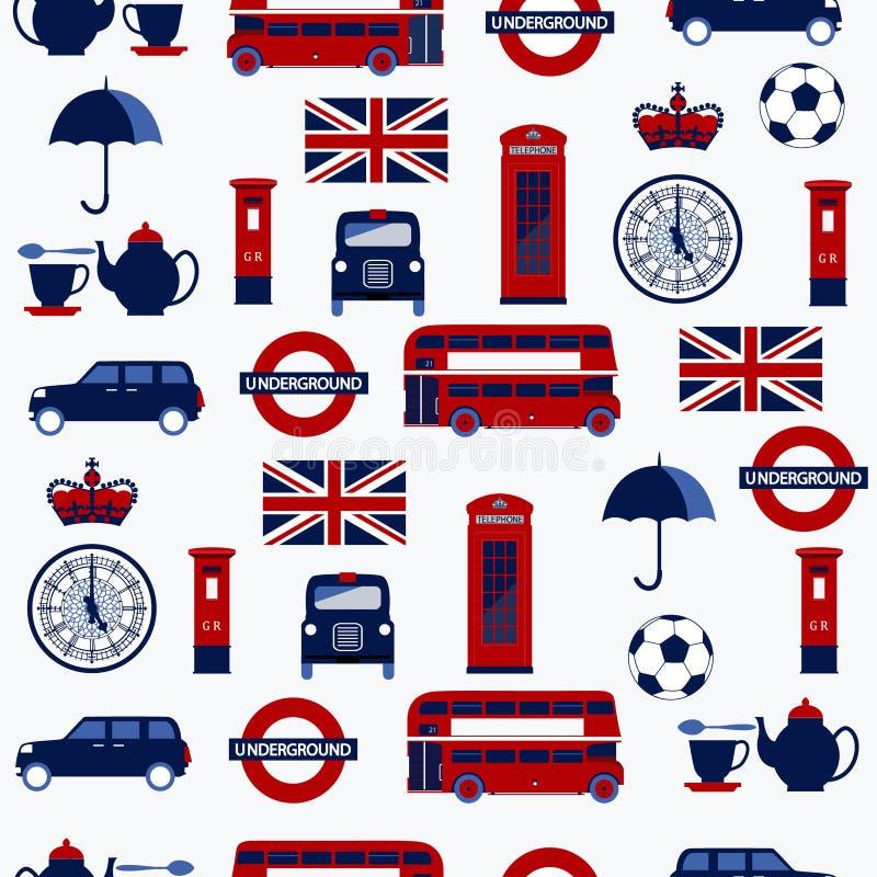 英国标志的无缝的样式:出租汽车、岗位箱子、电话、茶壶和杯子,双层公共汽车,灯 库存例证
