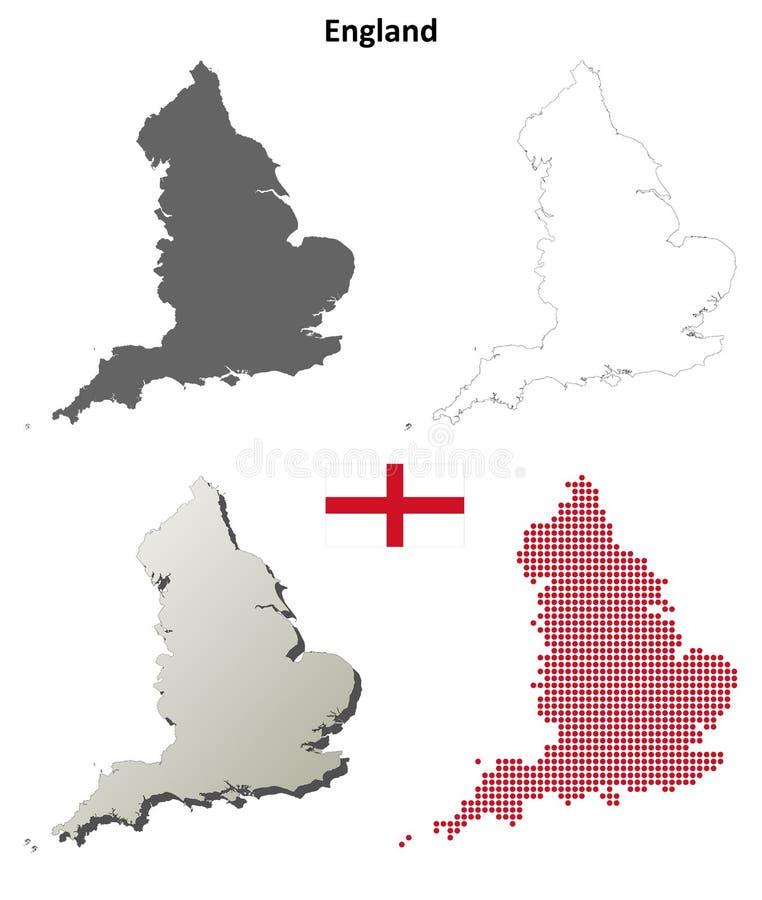 英国概述地图集合 向量例证