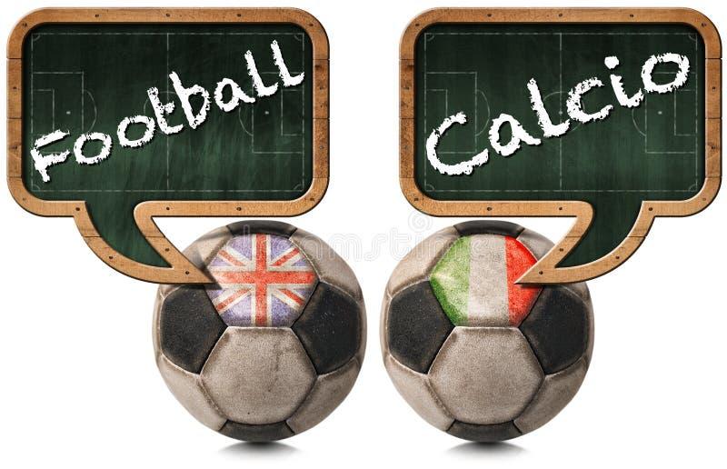 英国橄榄球和意大利语Calcio 库存例证
