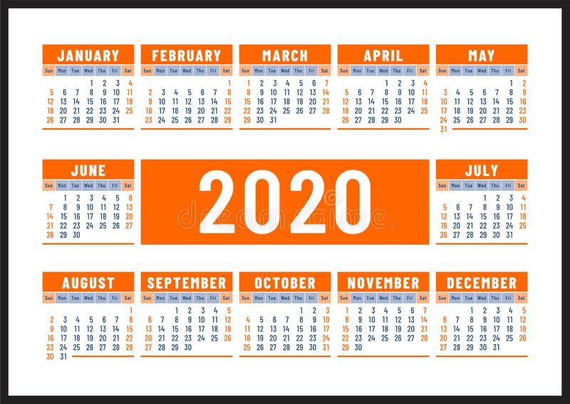 ??2020? 英国橘黄色传染媒介设计 r 水平的日历设计模板 库存例证