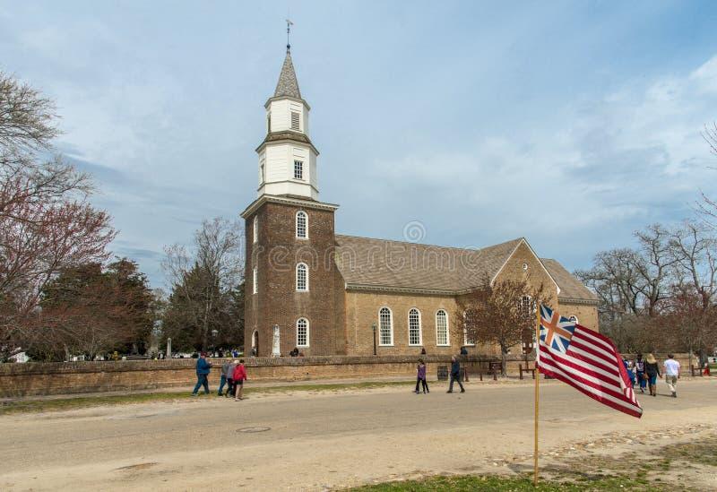 英国殖民地,威廉斯堡,弗吉尼亚,美国Bruton教区主教制度的教会 库存照片
