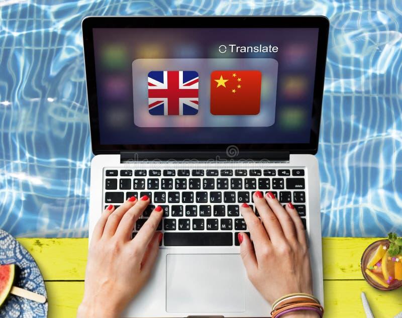 英国汉语翻译应用概念 免版税库存图片