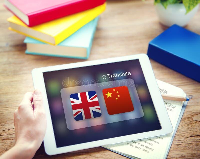 英国汉语翻译应用概念 库存照片