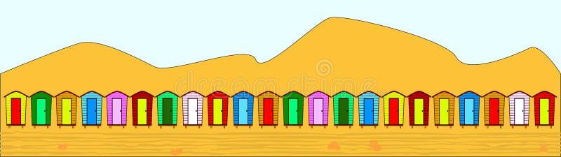 英国海滩的小屋 库存例证