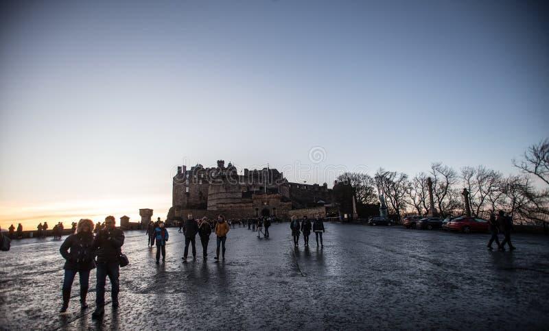 英国爱丁堡 — 2017年12月15日:爱丁堡城堡滨海 图库摄影