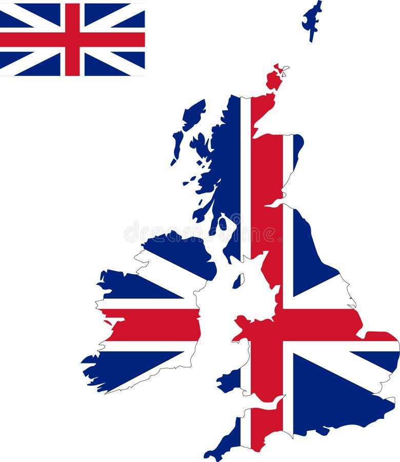 英国的传染媒介地图有旗子的 被隔绝的,白色背景 库存照片