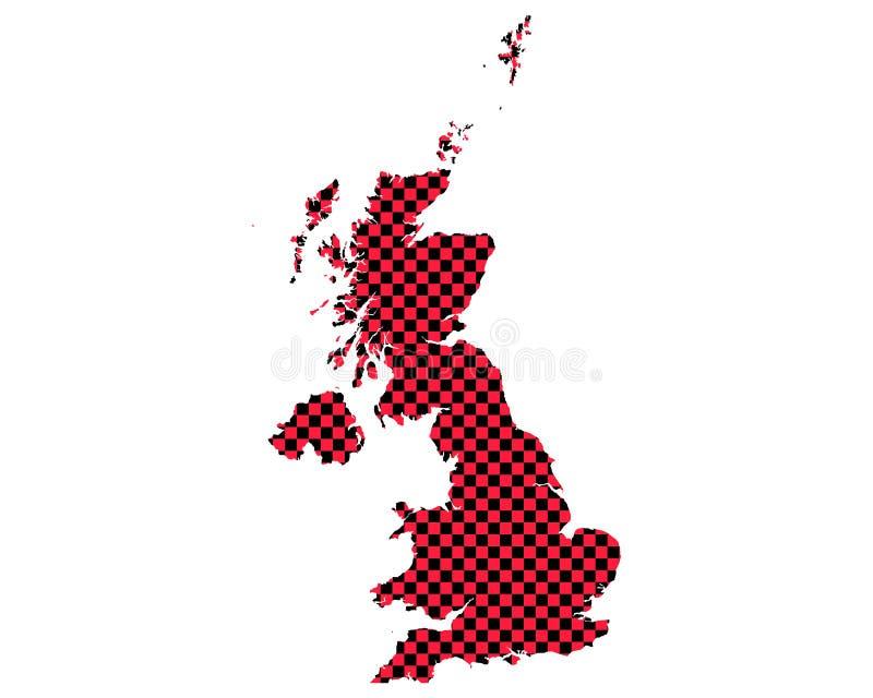 英国的地图棋盘样式的 向量例证