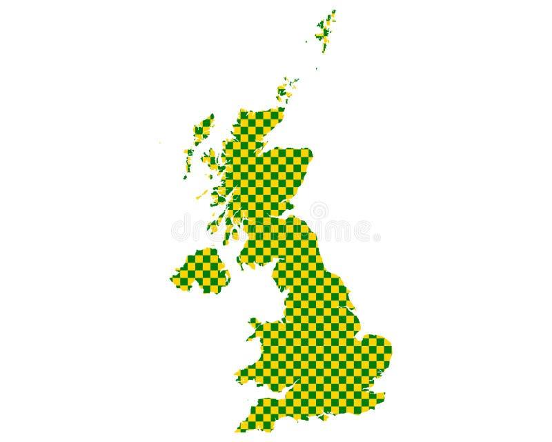 英国的地图棋盘样式的 库存例证