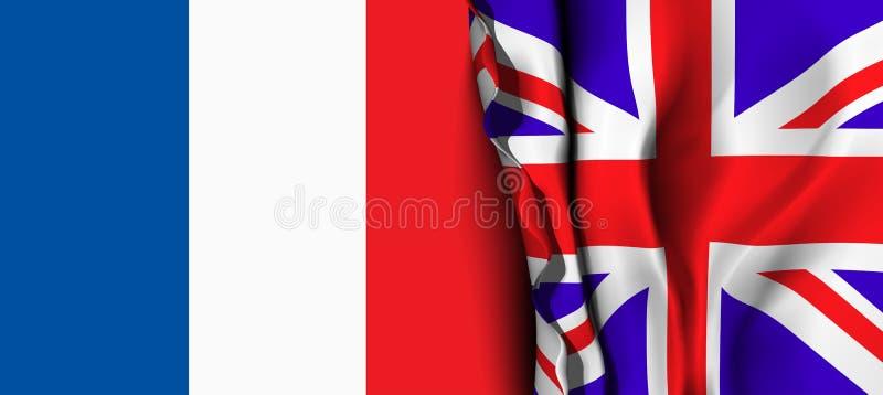 英国的旗子在法国旗子的 向量例证
