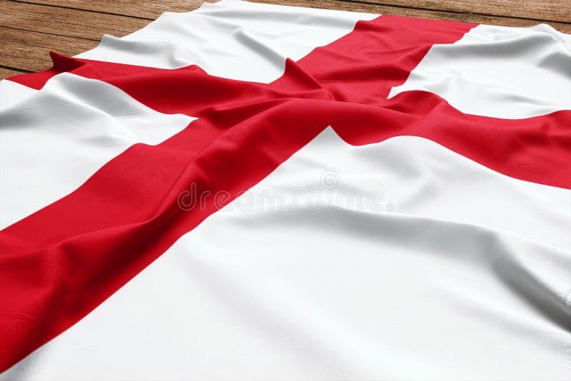 英国的旗子木书桌背景的 丝绸英国旗子顶视图 免版税库存照片