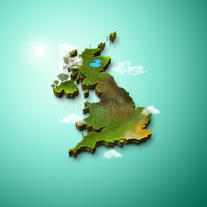英国的现实3D地图 皇族释放例证