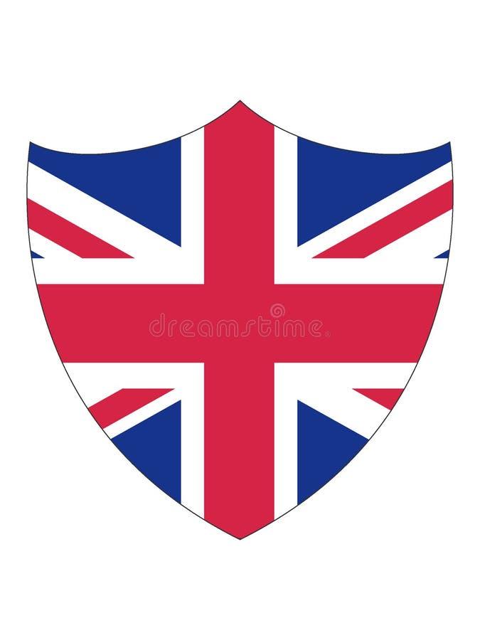 英国的盾形的旗子 库存例证