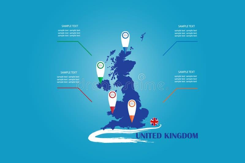 英国的瞎的地图和圈子旗子的Infographic 皇族释放例证