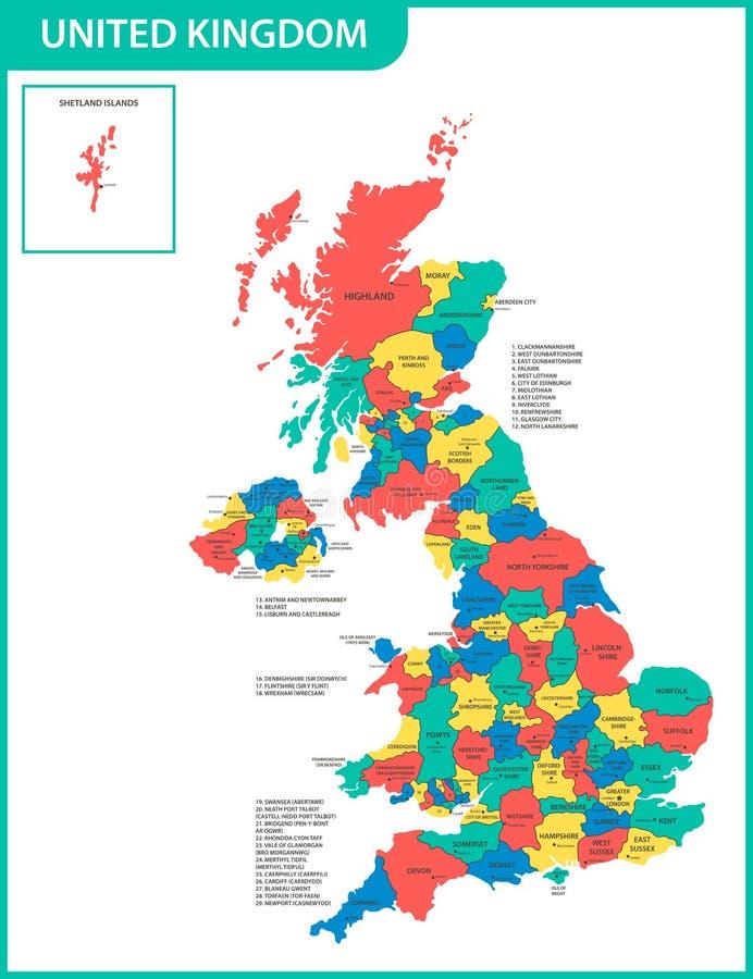 英国的详细的地图有地区的或州和城市,资本 实际当前相关的英国,大英国admi 皇族释放例证