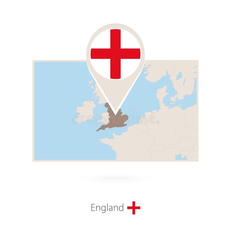 英国的长方形地图有英国的别针象的 库存例证