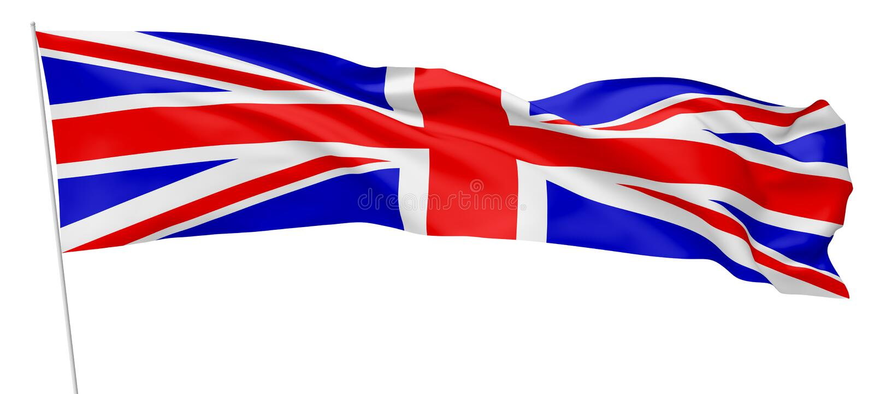 英国的长的旗子旗杆的 皇族释放例证