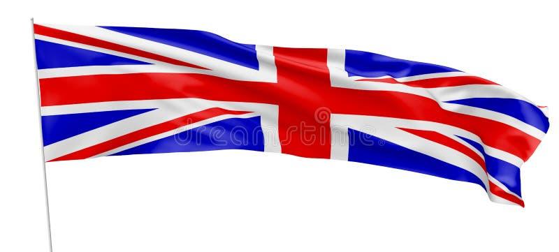 英国的长的旗子有旗杆的 库存例证