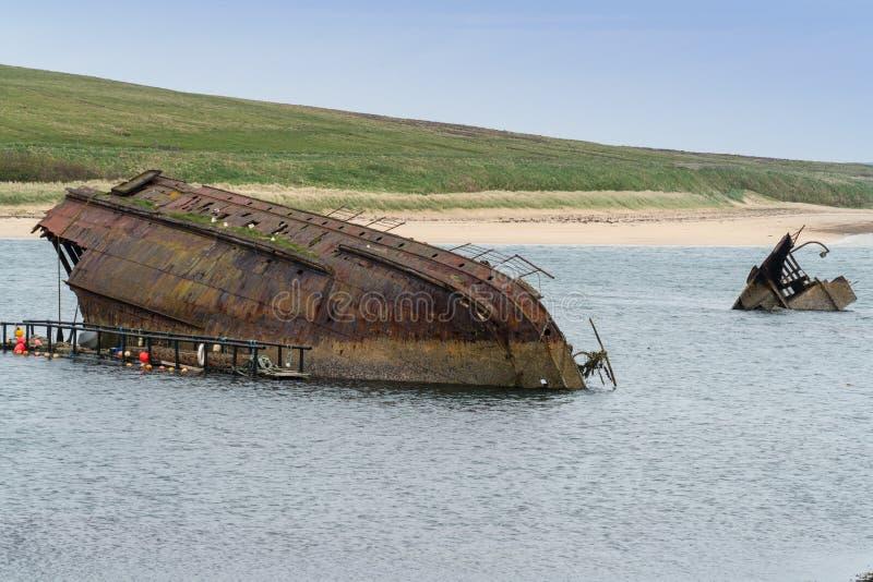 英国皇家海军块船SS雷金纳德, Weddel声音,斯卡帕湾, Ork 图库摄影