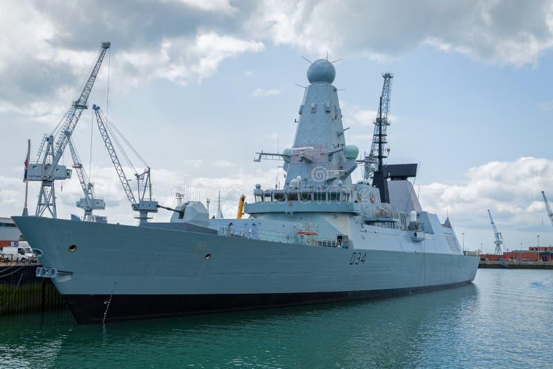 英国皇家海军驱逐舰军舰 库存图片