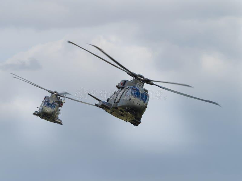 英国皇家海军默林直升机 免版税图库摄影