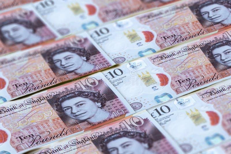 英国磅钞票背景 英国的金钱 免版税库存照片