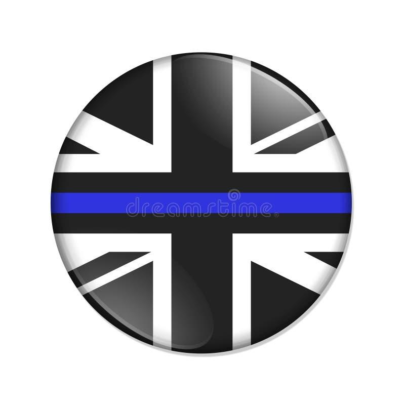 英国稀薄的蓝线旗子徽章按钮 皇族释放例证