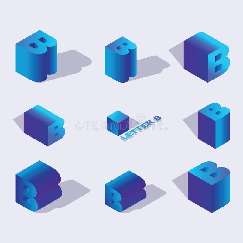 英国等量字母表字体、信件B或俄国信件B 3d作用信件,各种各样节略与平的阴影 股票 库存例证