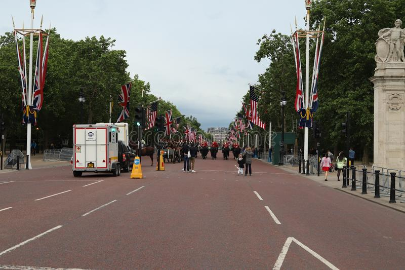 英国美国旗子白金汉宫 库存照片