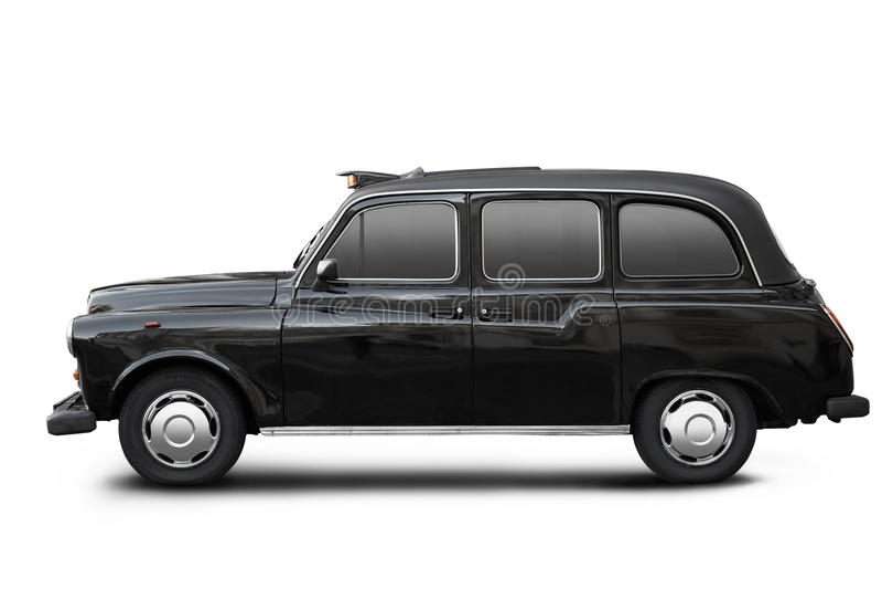 英国老出租汽车,在白色的黑小室 免版税库存照片