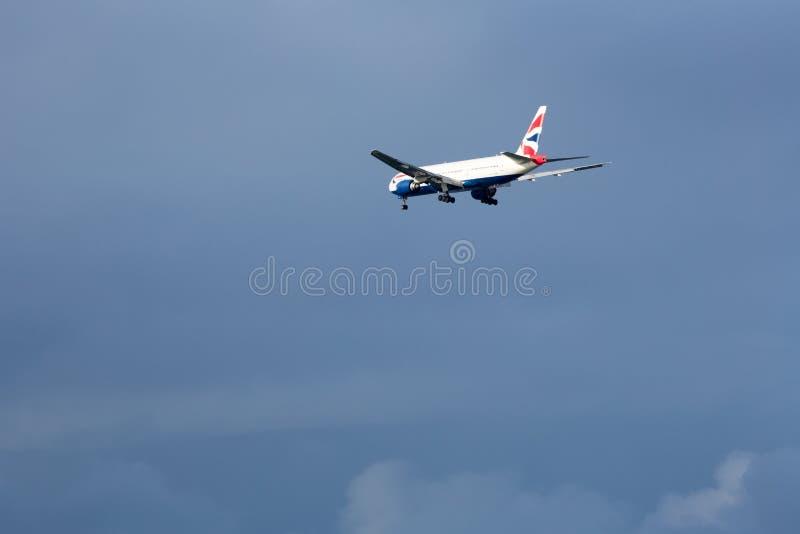 英国航空公司777登陆的SFO 库存图片