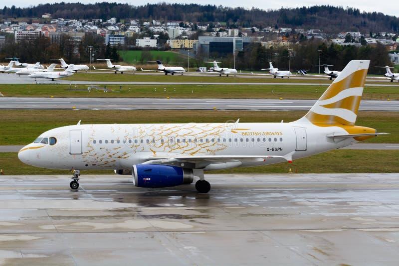 英国航空公司A319-131-G-EUOH/金黄鸠/伦敦奥林匹克2012年 库存图片