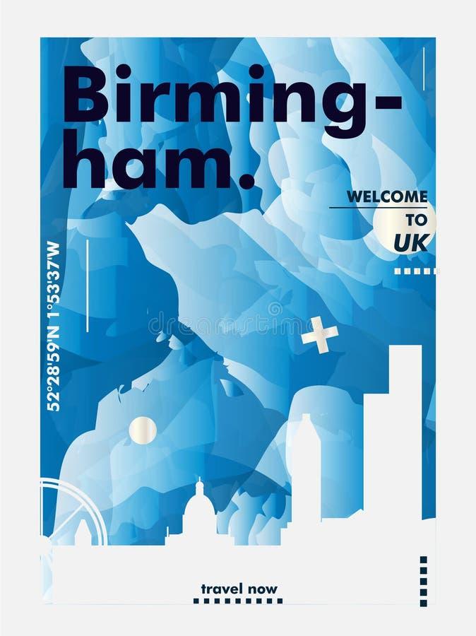 英国英国伯明翰地平线城市梯度传染媒介海报 向量例证