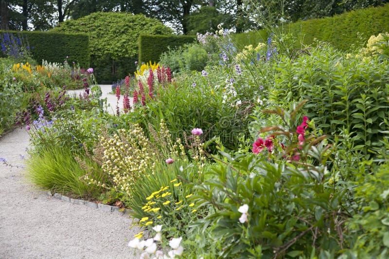 英国草本庭院边界 库存照片