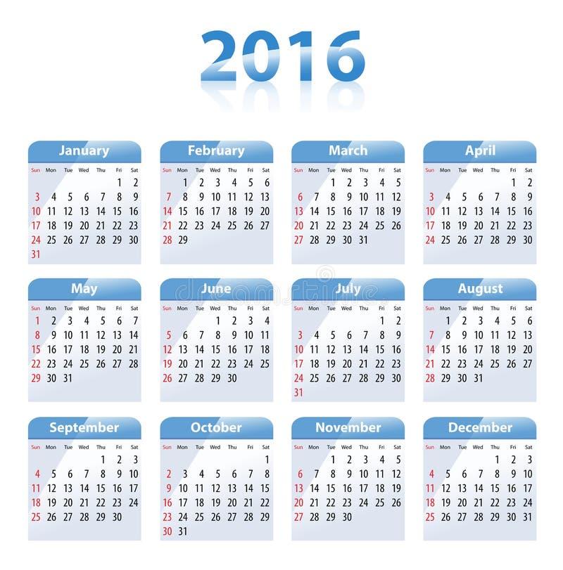 英国蓝色光滑的日历在2016年 皇族释放例证