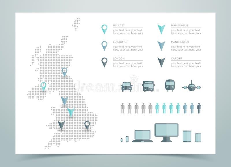 英国被加点的传染媒介地图  免版税库存照片