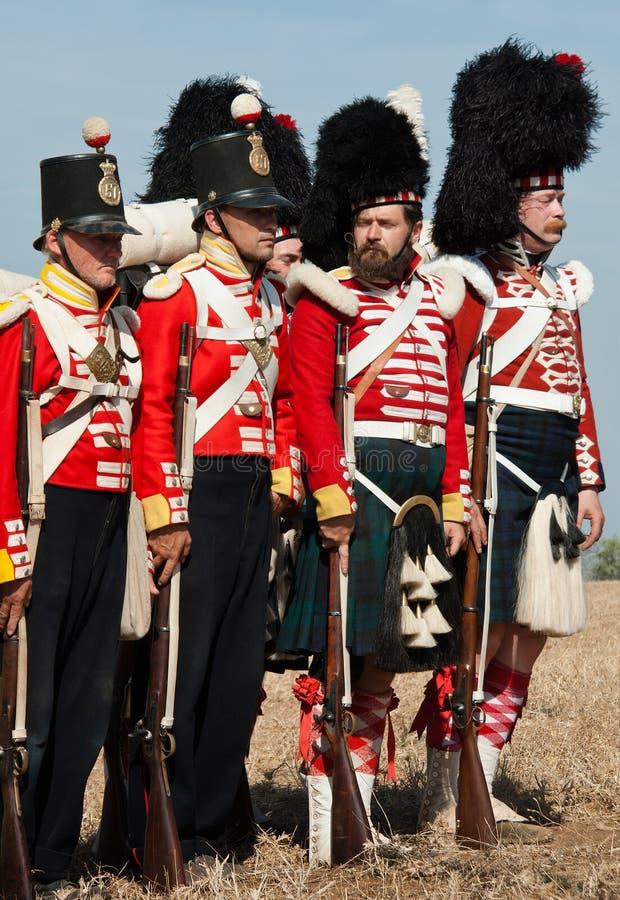 英国陆军历史军服  免版税图库摄影
