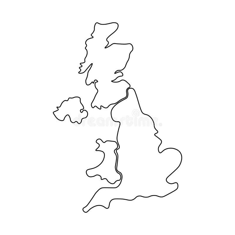 英国,亦称英国,大英国和北爱尔兰手拉的空白的地图 划分对四个国家-英国 向量例证