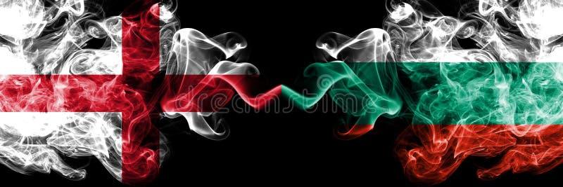 英国,保加利亚竞争厚实的五颜六色的发烟性旗子 欧洲橄榄球资格比赛 皇族释放例证