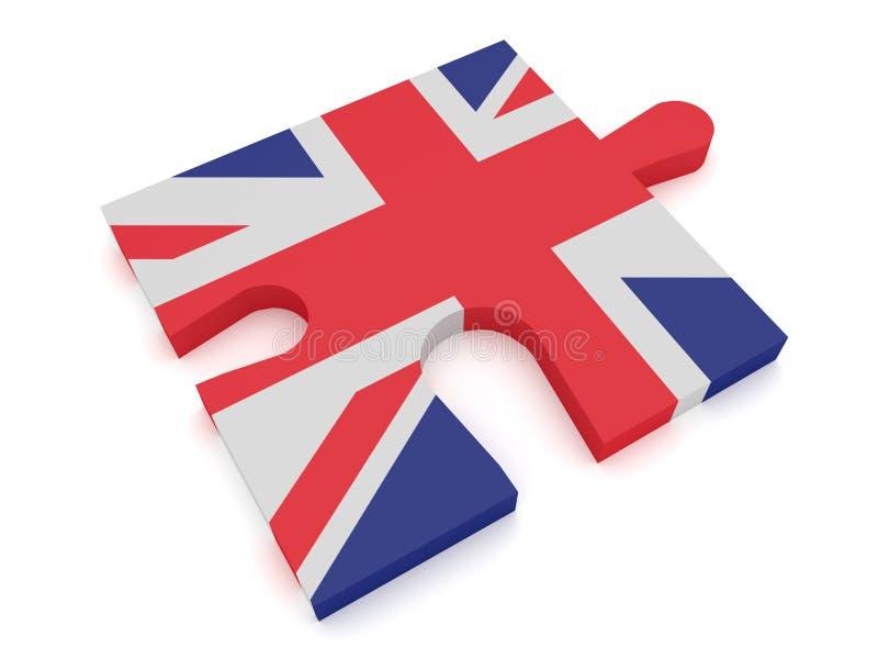 英国:难题片断英国国旗英国旗子3d例证 库存例证